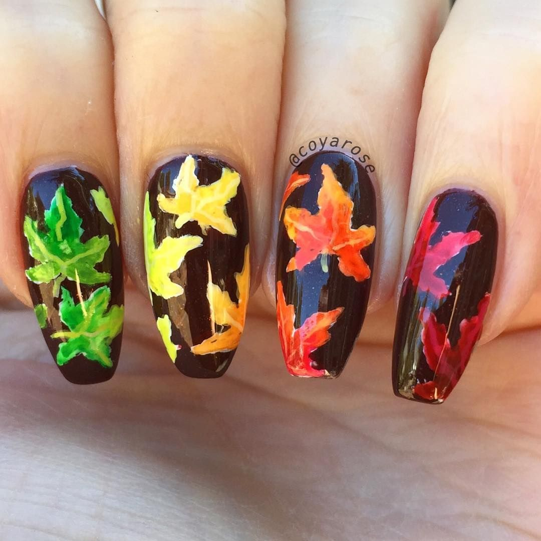 Fall maple leaves nail art. Ombré water color rainbow | Nail Art by ...