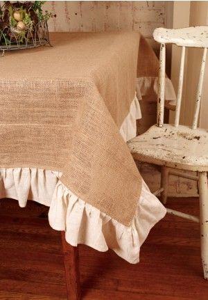 Burlap Tablecloth, Ruffled Tablecloth, Tablecloth