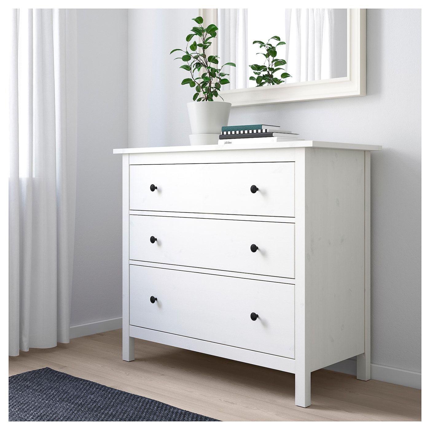 HEMNES Kommode mit 3 Schubladen weiß gebeizt IKEA