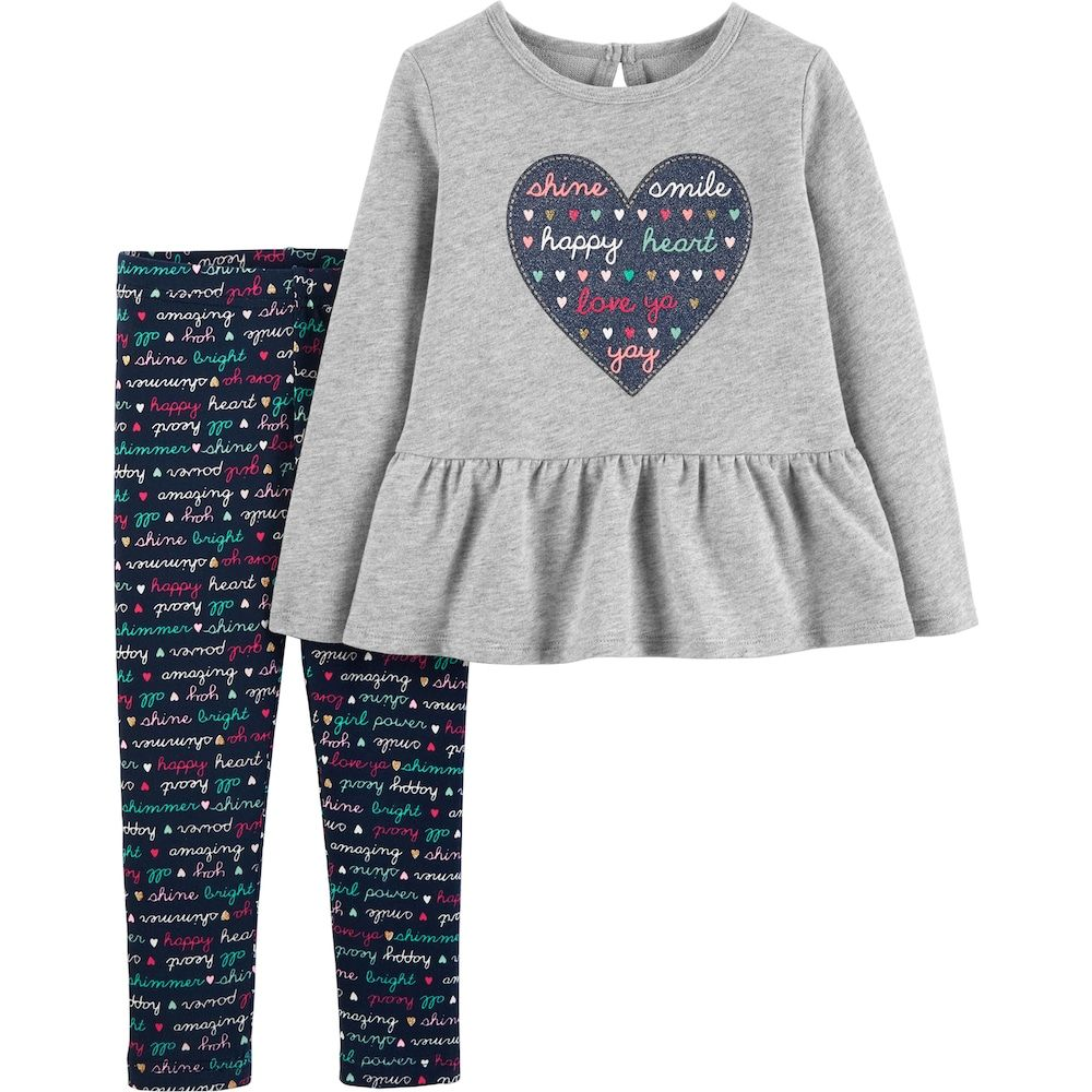 4a6f3f49d57 Baby Girl Carter s Heart Peplum-Hem Fleece Top   Print Leggings Set ...