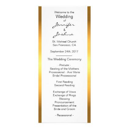 Customized Gold Foil White Design Wedding Programs  Wedding