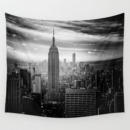 Black And White New York City Manhattan Cityscape Photography Empire State Building Modern Urban Streets Best Tapestry Wall Tapestry Cityscape Photography