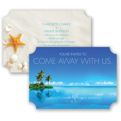 Destination Beach Wedding Invitation - Shells, Sand, Ocean, Starfish at Invitations By David's Bridal pricey but pretty