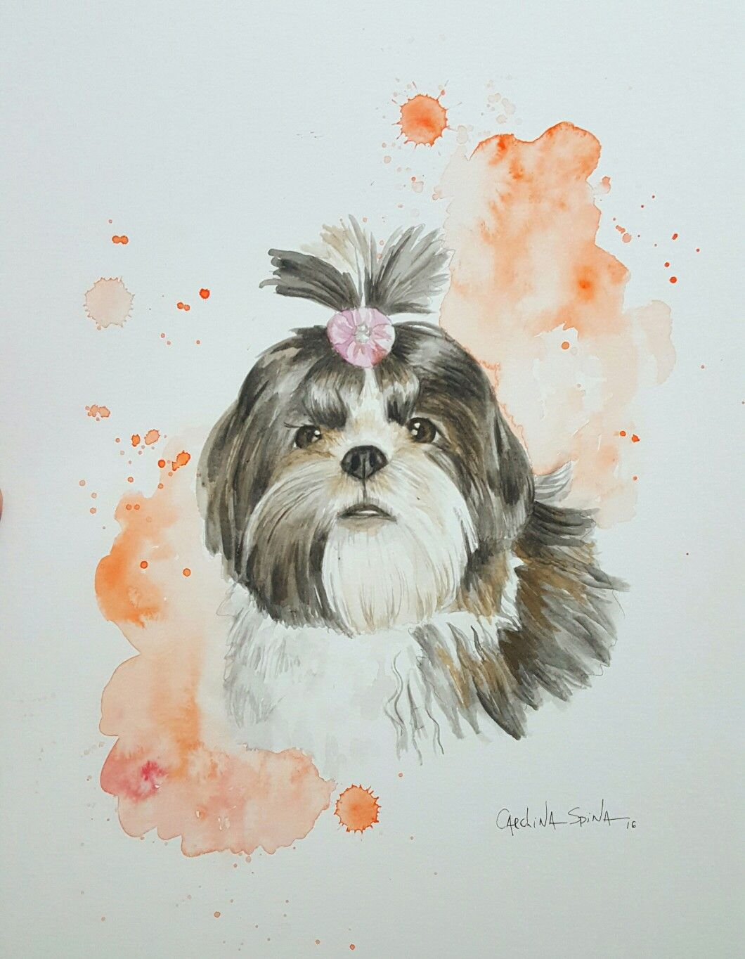 Shih Tzu Watercolor Pet Portraits Retratos De Pet Em Aquarela Por