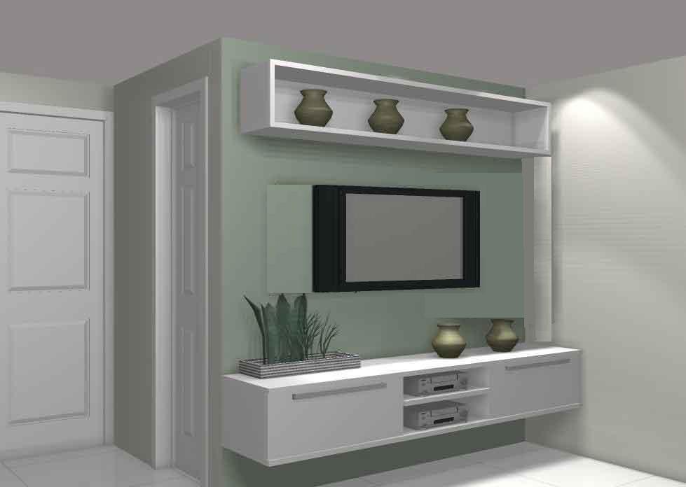 Modelo de Rack Branco Para Sala Pequena  Inspiração Decor