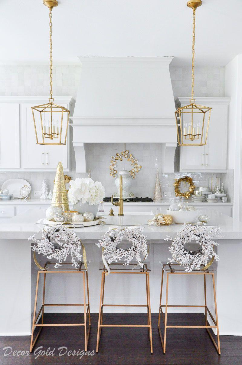 Bright White Christmas Kitchen   Decor Gold Designs   Christmas ...