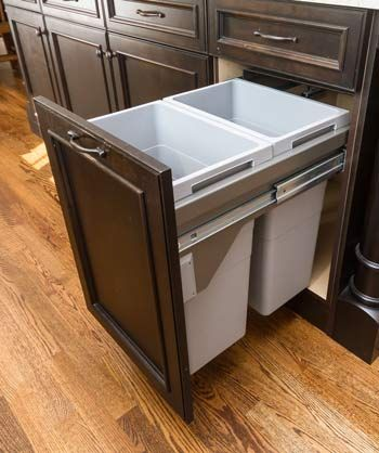 Pull out trash and recycling cabinet from Ultracraft in action ... Under Kitchen Cabinets Accessories on kitchen cupboard accessories, kitchen cabinets parts accessories, under kitchen storage,