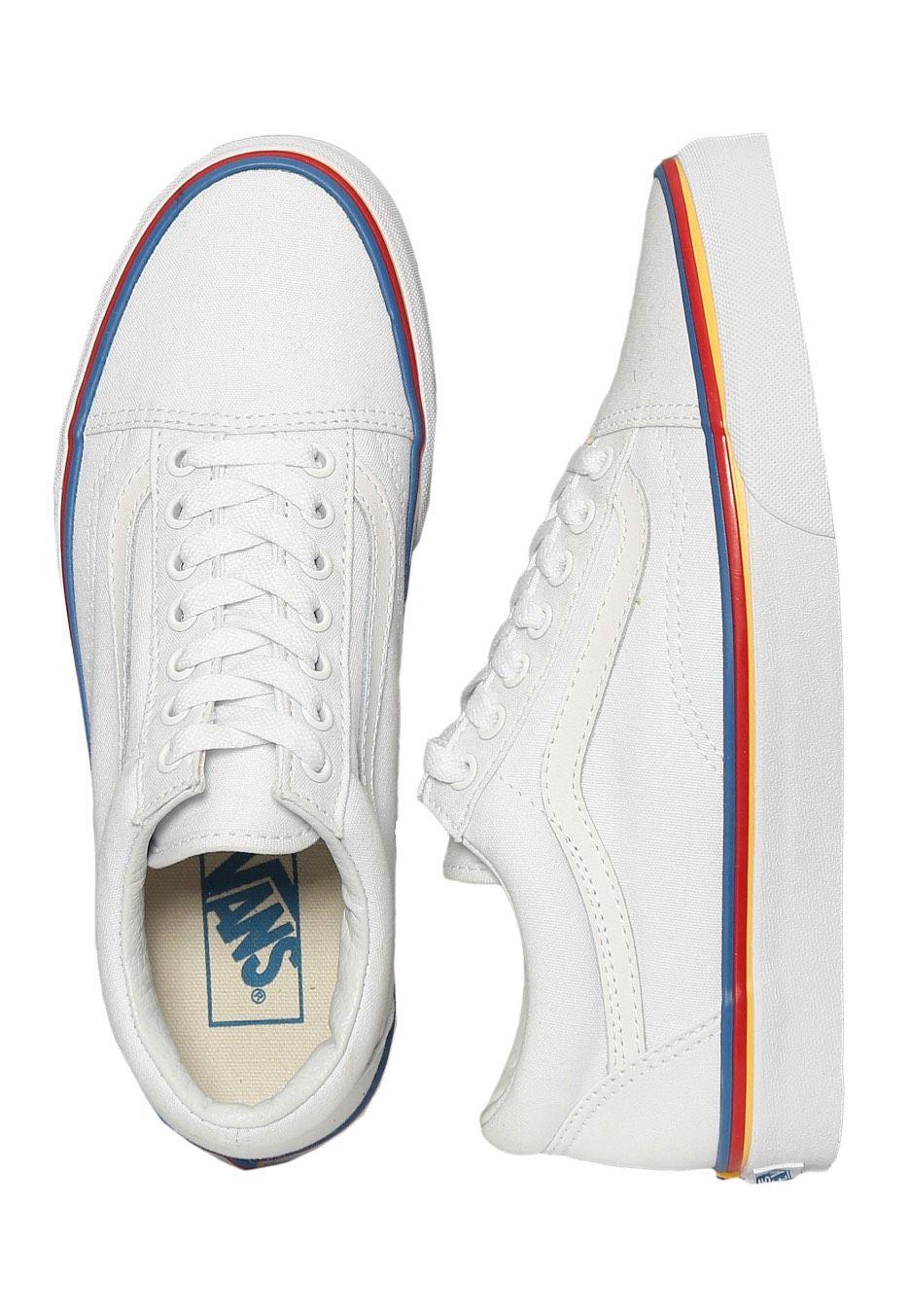 Vans Old Skool Rainbow Foxing True White Girl Schuhe Im Impericon Shop Innerhalb Von 24 Stunden Versand White Shoes For Girls Rainbow Vans Vans Old Skool