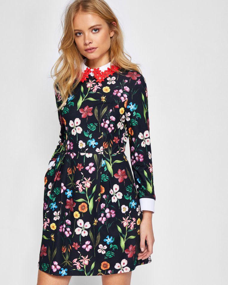 1722c6cf70c755 Hampton Court appliqued collar dress - Black