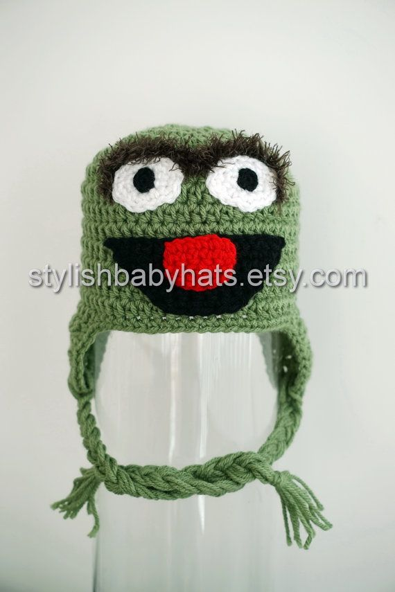 ee5b0974fb5 This ad is for ONE green puppet hat inspired from Sesame Streets Oscar the  Grouch. This hat would make an awesome baby shower gift