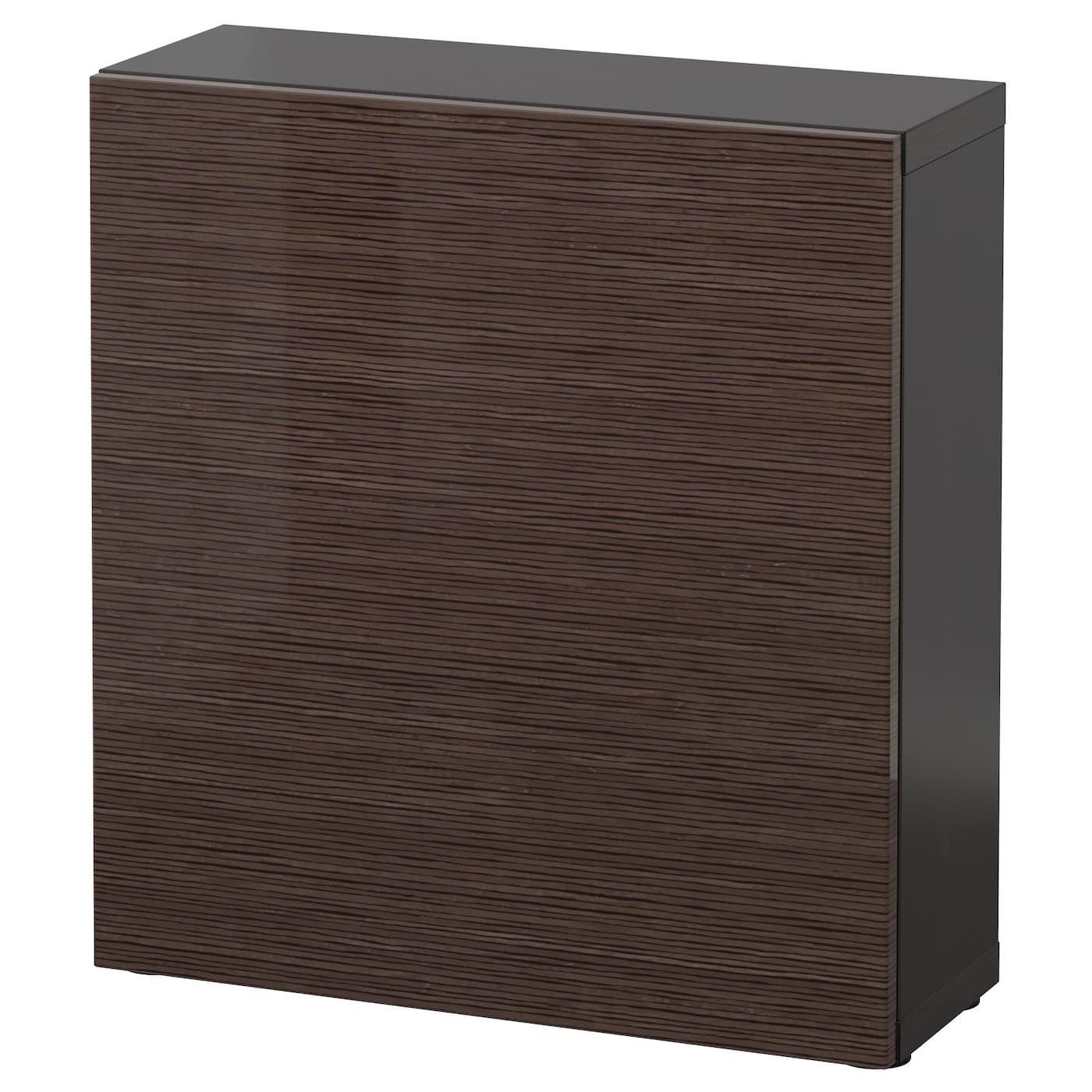 Besta Shelf Unit With Door Black Brown Selsviken High Gloss Brown 23 5 8x7 7 8x25 1 4 60x20x64 Cm Regal Mit Turen Regal Hochglanz