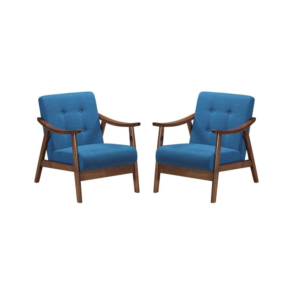 Dmf Furniture Modern Velvet Accent Chair Set Of 2 High Back