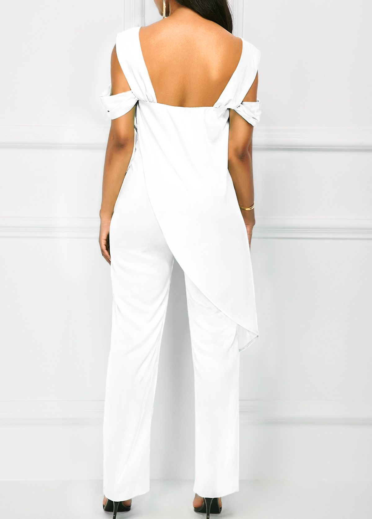 15407b77680 Open Back Overlay Embellished White Jumpsuit on sale only US 38.21 ...