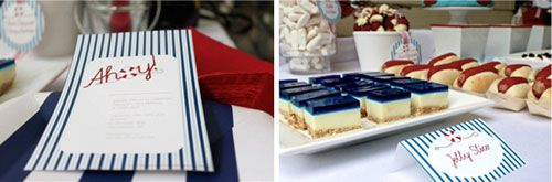 Navy Blue Red and White Nautical First Birthday Party Dessert Table- the jello cheesecakes! awesome