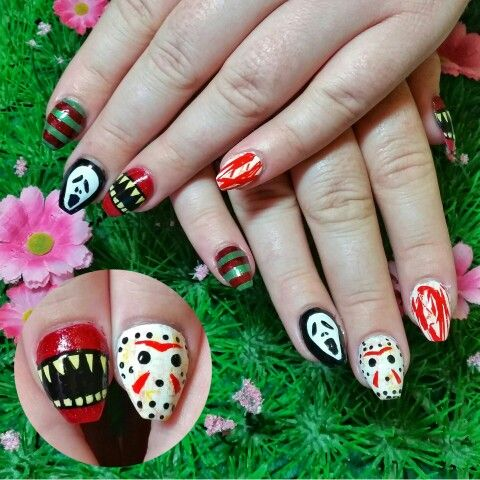 Horror movie inspired nail art featuring Friday the 13th ...