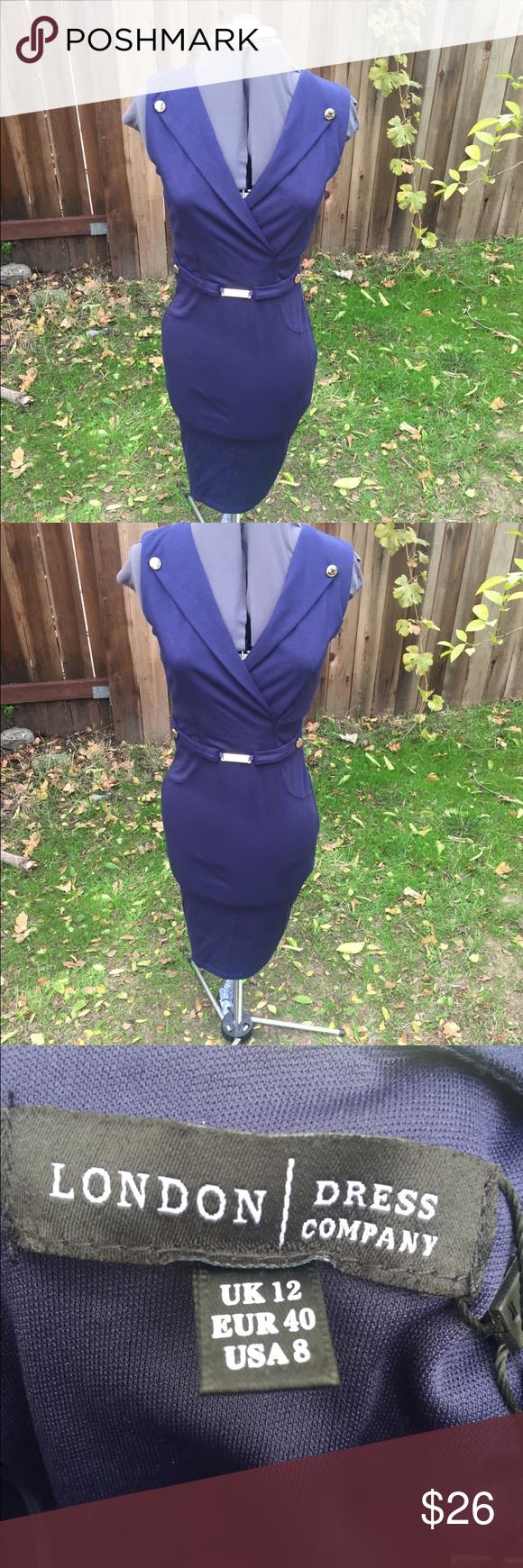 Women navy blue dress nwt women london dress company size