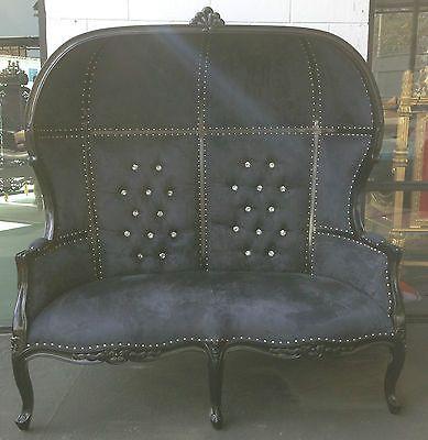 Hollywood regency black porter canopy sofa loveseat bonnet king