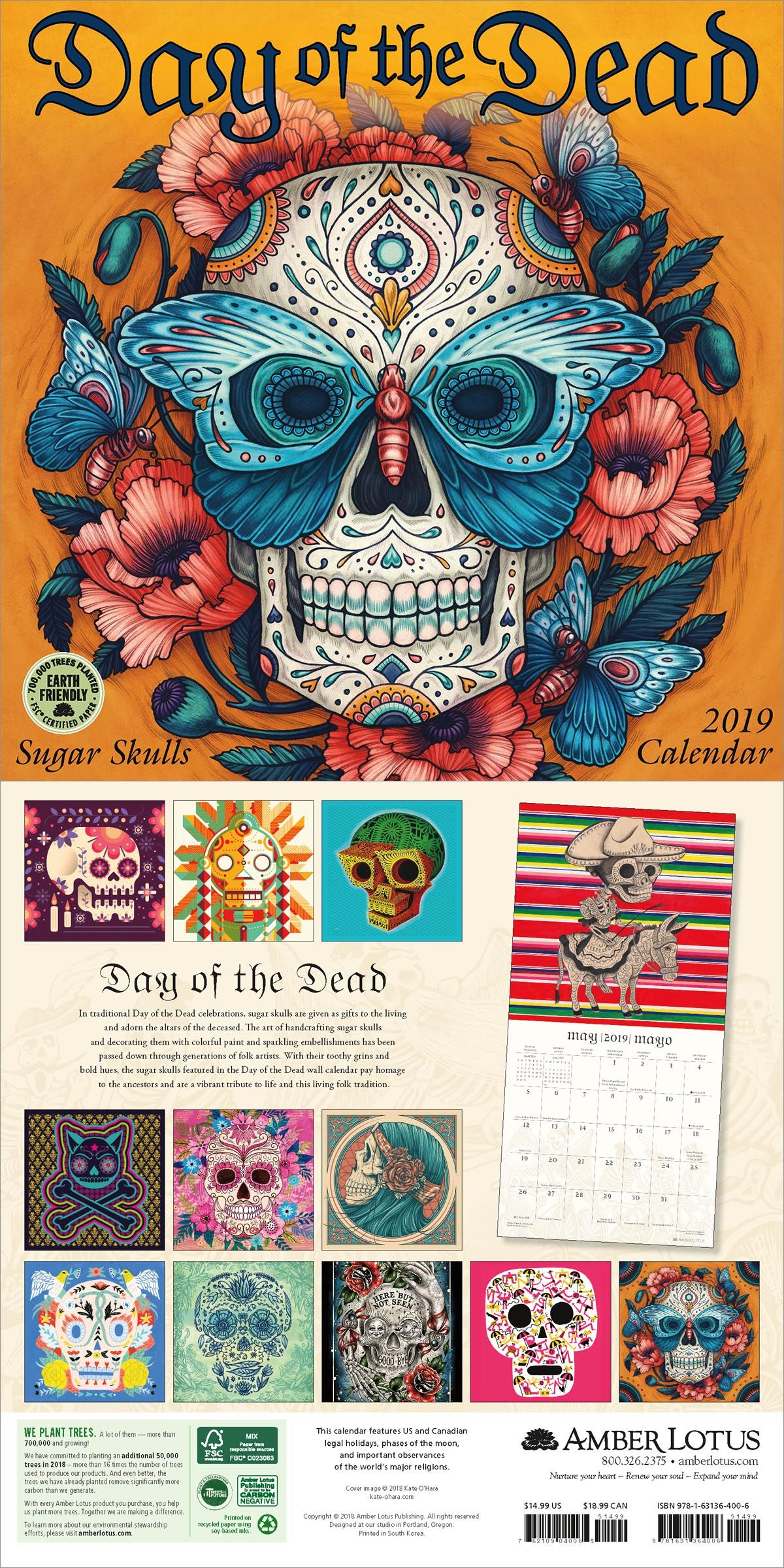 Day of the Dead 2020 Wall Calendar in 2019 2019 Wall