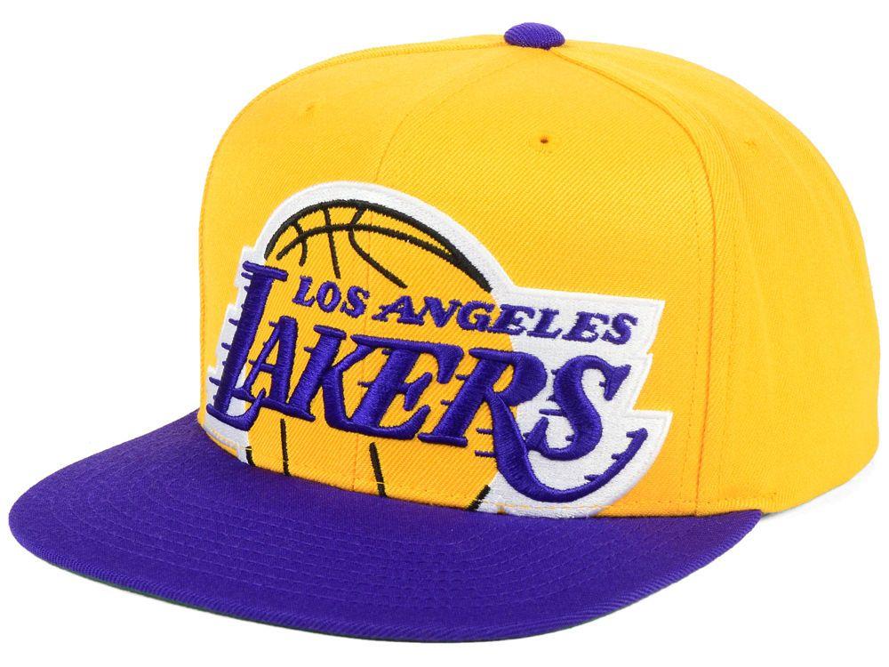 64dcd76fd65f66 Los Angeles Lakers Mitchell & Ness NBA Cropped XL Logo Snapback Cap ...
