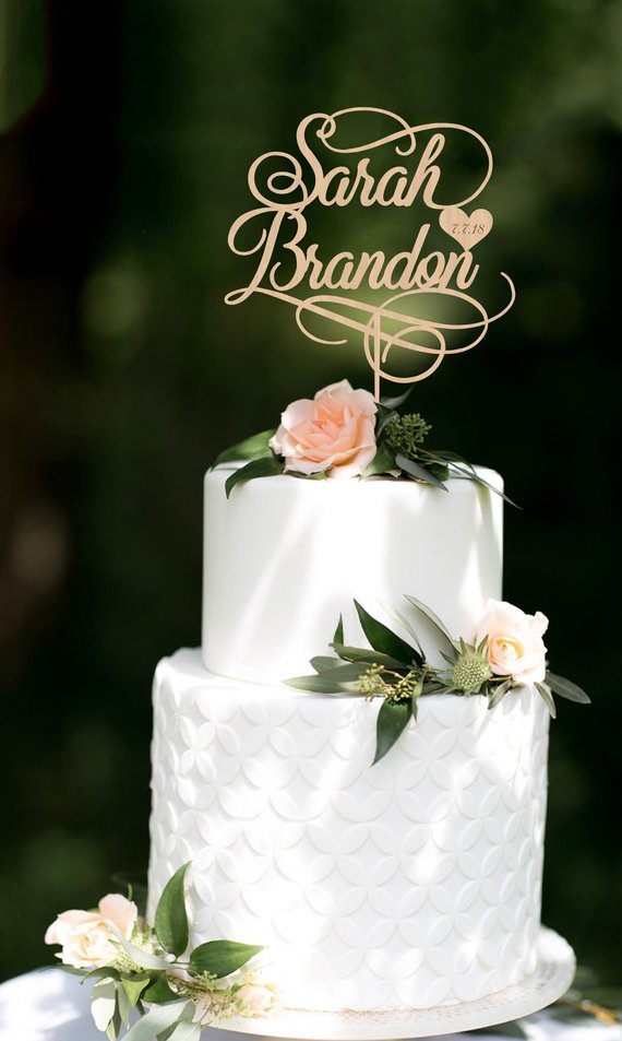 Wedding Cake Topper Personalized Cake Toppernames Cake Topper Custom