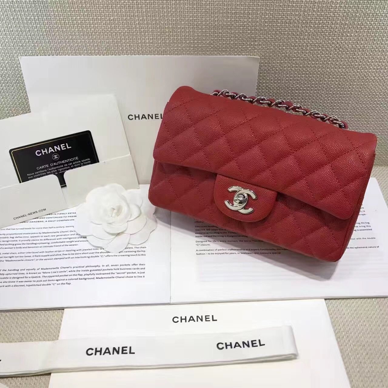 2e8df3d3d8f7 Authentic Quality 1:1 Mirror Replica Chanel Classic Flap Bag Mini Red  Caviar Leather Silver Hardware A69900
