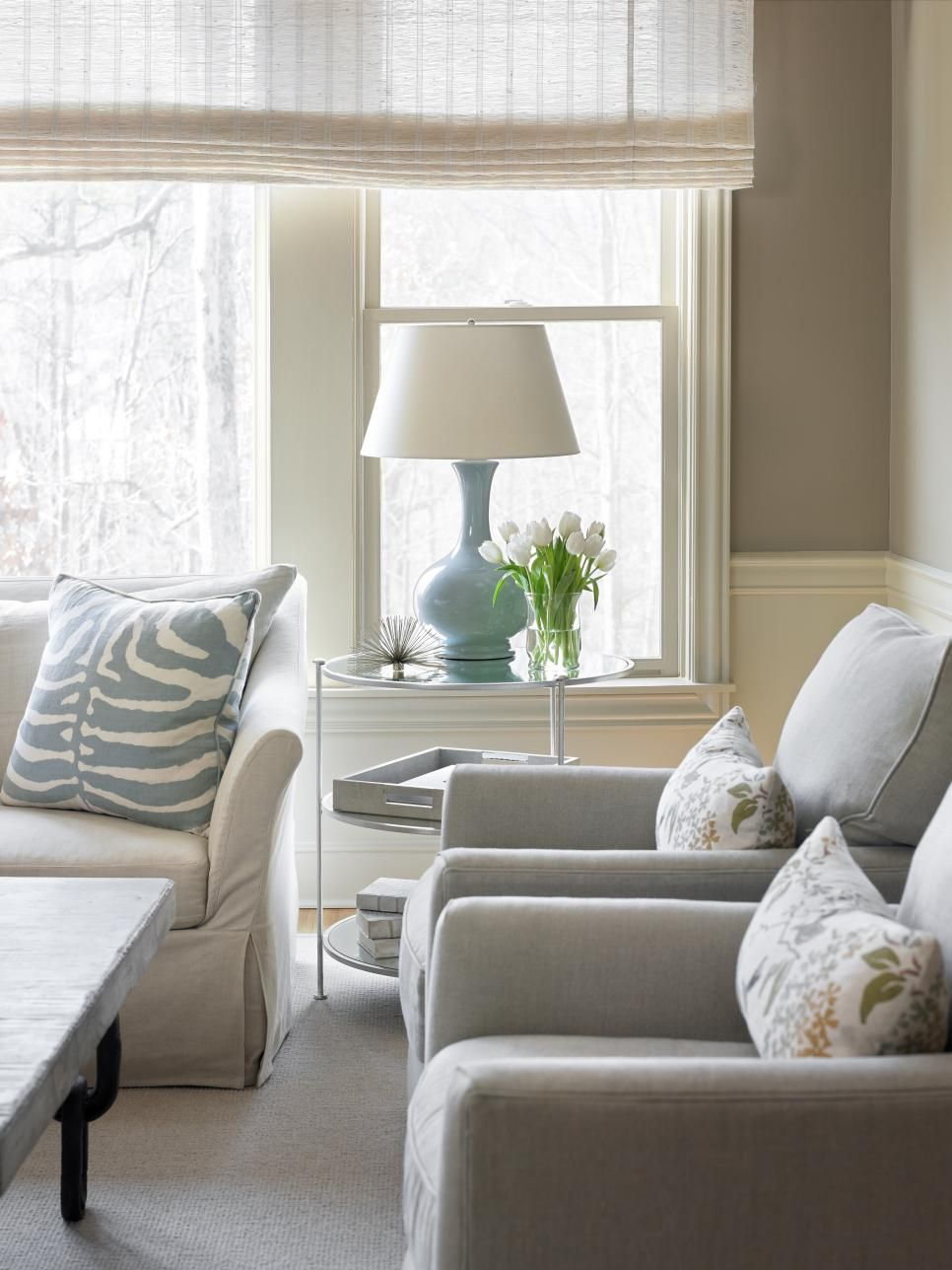 Pale blue accents add soft, pretty touches of color to this neutral ...