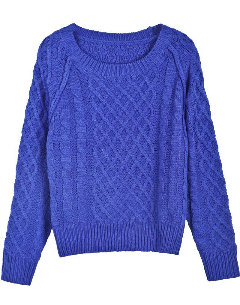 Blue Long Sleeve Diamond Patterned Cable Knit Sweater $MXN432.86 ...
