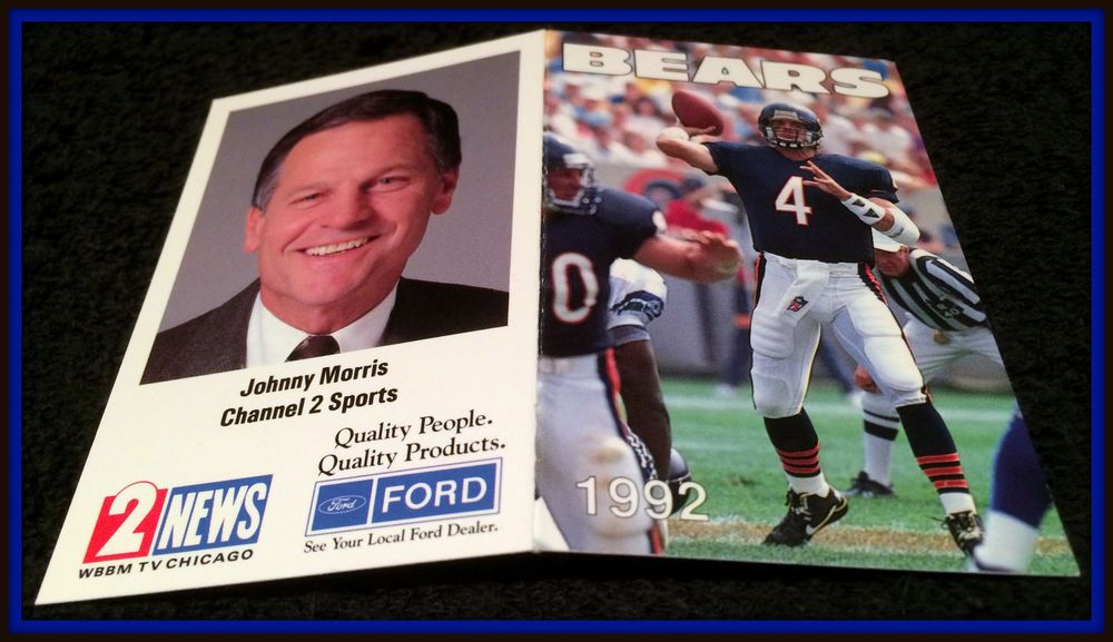 1992 CHICAGO BEARS WBBM TV FORD FOOTBALL POCKET SCHEDULE