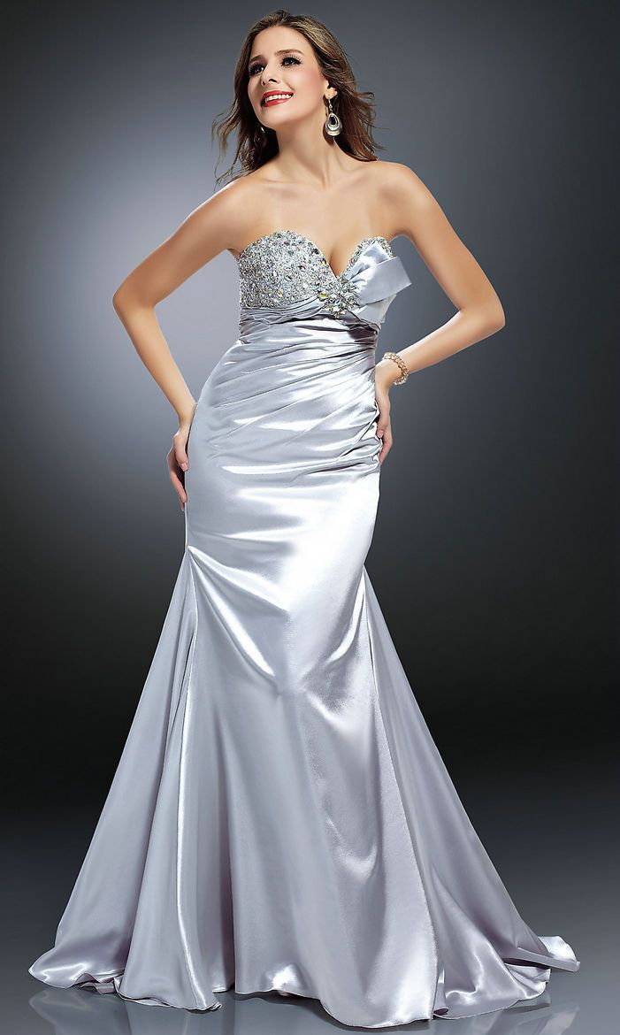 Lace up ruched sequin bodice strapless sweetheart natural silver