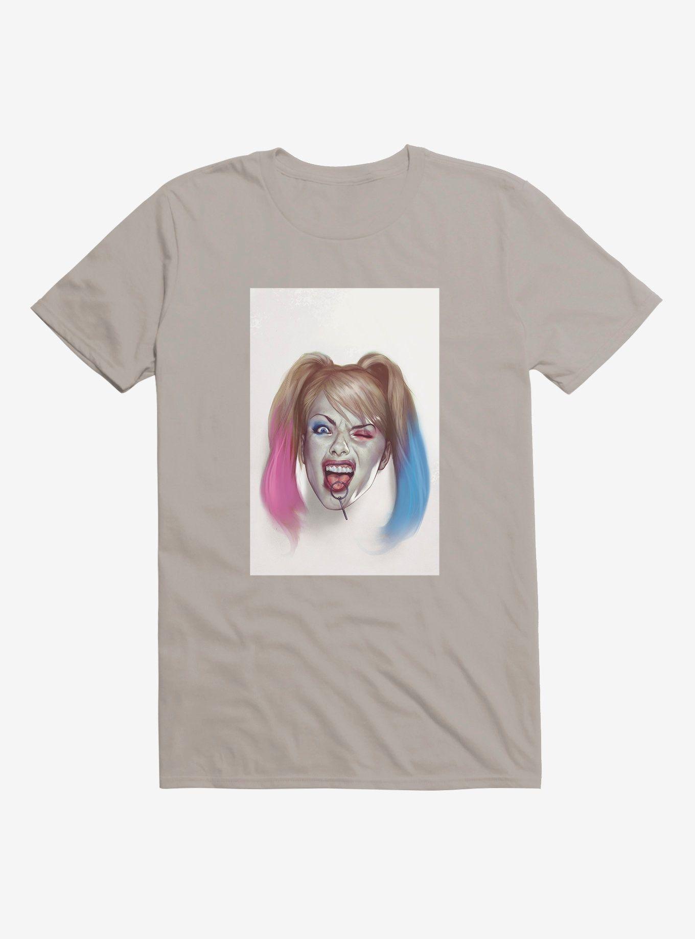 - DC Comics Batman Harley Quinn Art Light Grey T-Shirt, LIGHT GREY  , Long Sleeve, Sweatshirt, Hoo