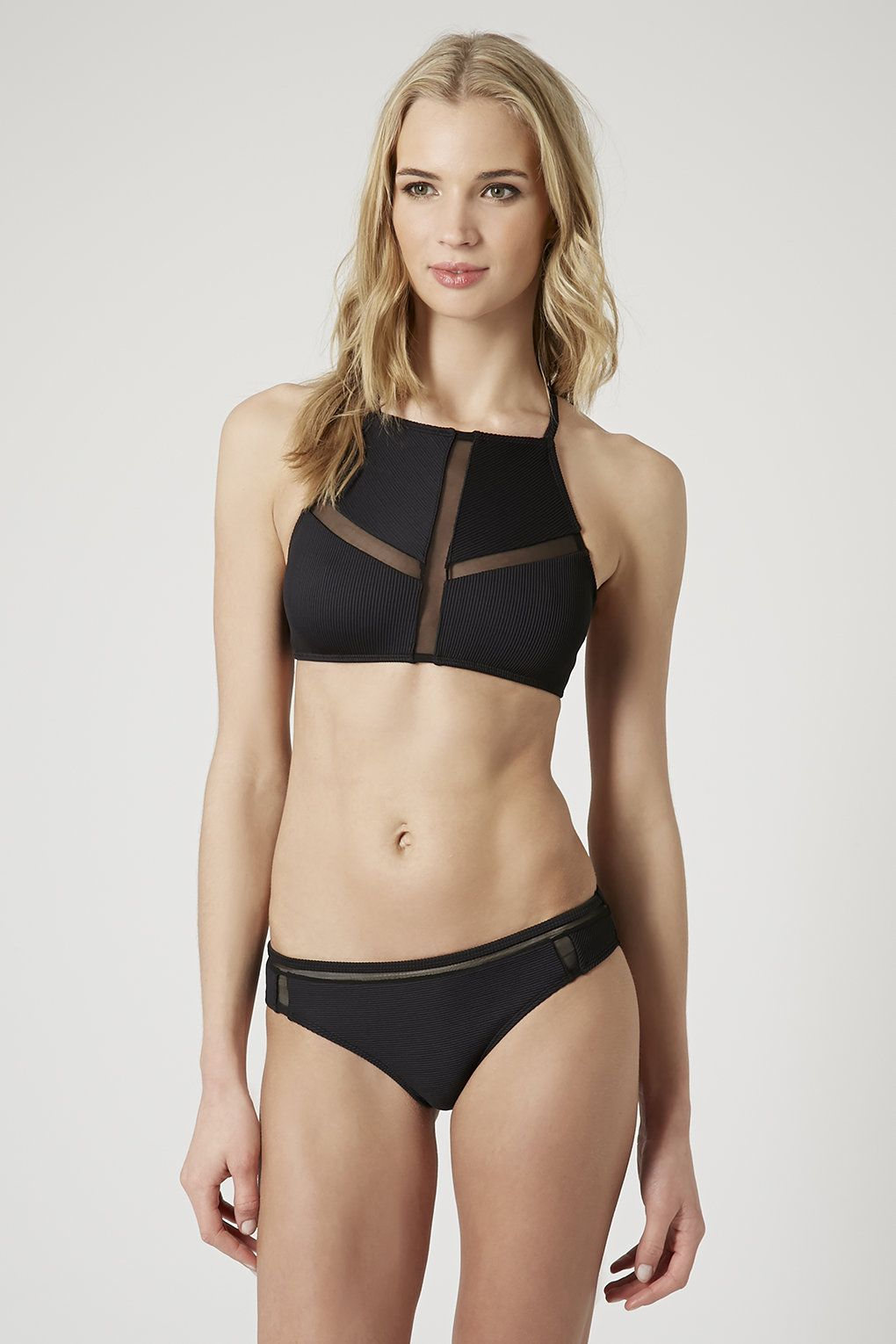 3e23ab09814d88 High Neck Ribbed Bikini Set - Topshop