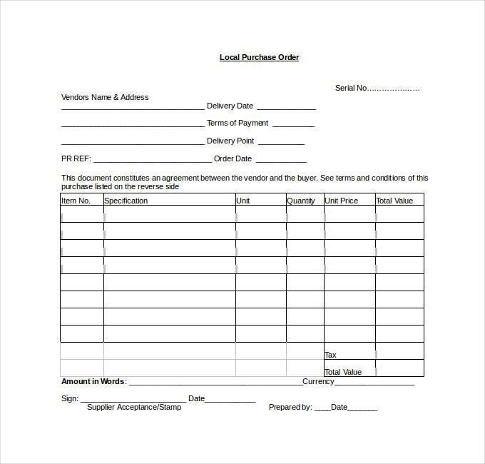 Purchase Order Templates Word - 34+ Purchase Order Examples PDF, DOC