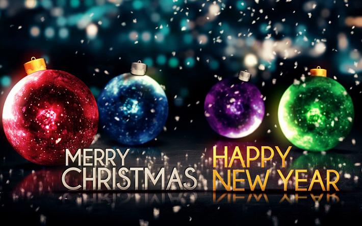 High Quality Herunterladen Hintergrundbild Frohe Weihnachten, 4k, Glückliches Neues  Jahr, Glanz, Kunst, Neues