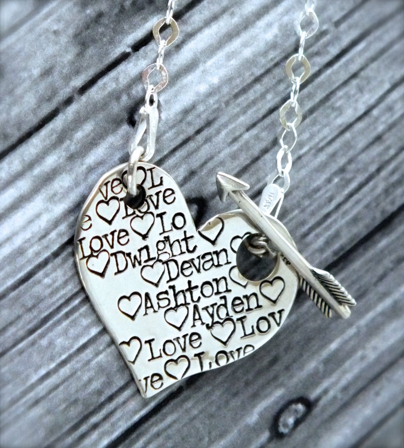 Sterling Silver Heart and Arrow Necklace by TheSilverWing on Etsy