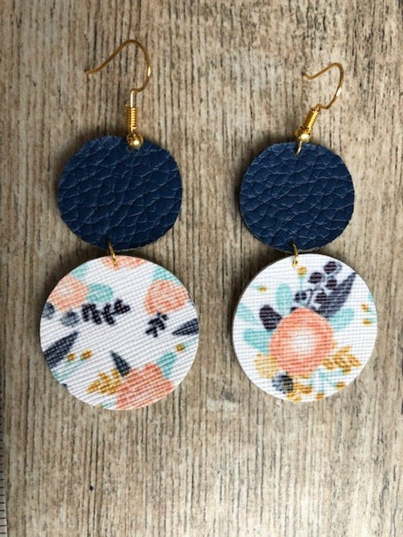 Navy and floral faux leather earrings