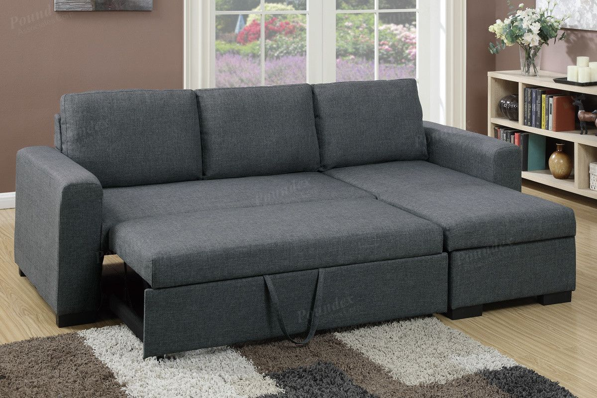 Best Poundex Grey Fabric Sectional Sofa F6931 Fabric 400 x 300