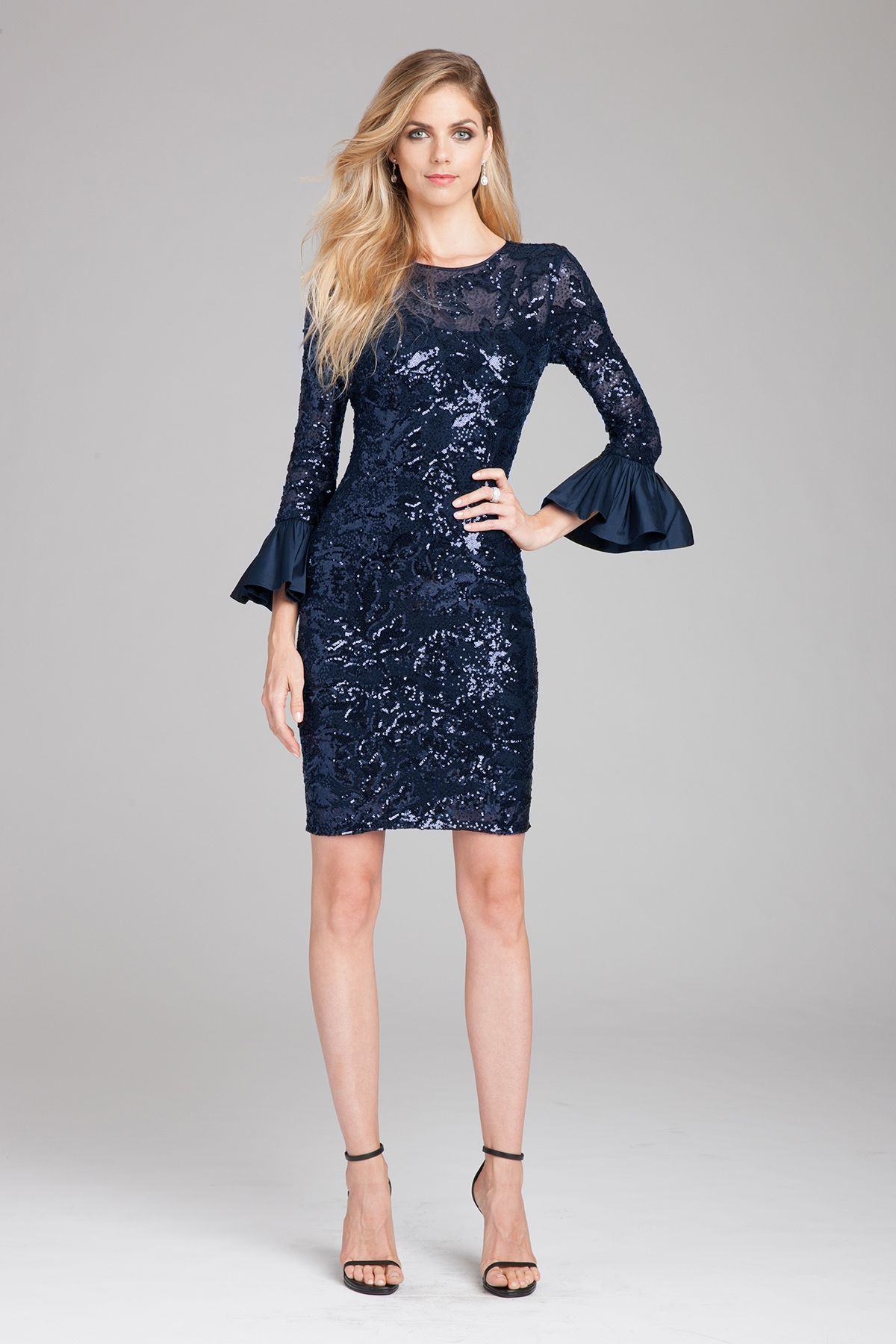 Navy Blue Wedding Guest Dress With Sleeves