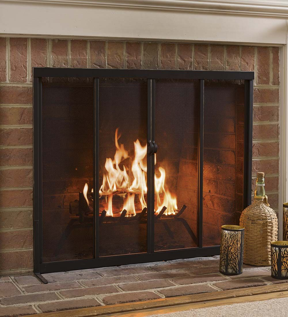 Fire Screen With Sliding Doors 44 X 33 Collection Accessories Fireplace Screens Fireplace Fireplace Screens With Doors