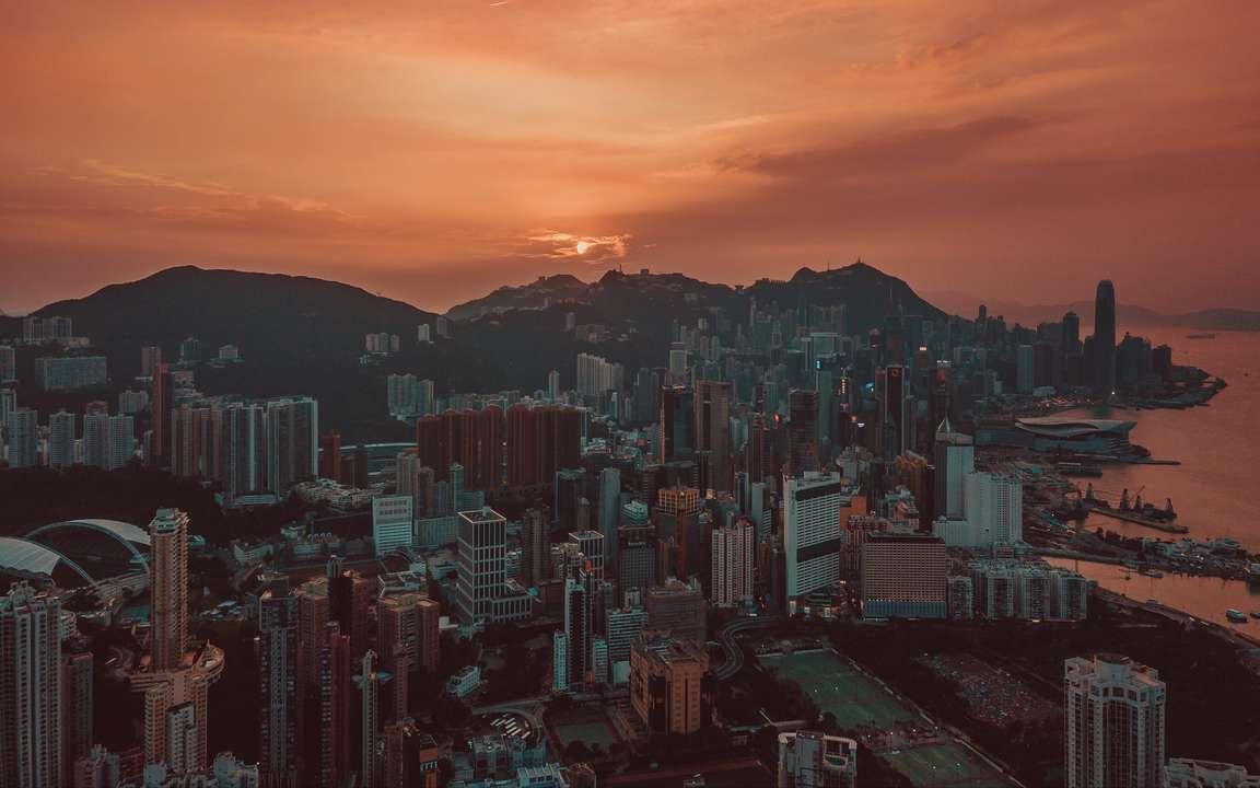 Download Wallpaper 3840x2400 City Sunset Aerial View Skyscrapers Sky Hong Kong 4k Ultra Hd 16 10 Hd Background Sunset City Aerial View City Pictures
