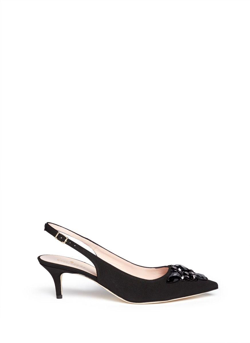 84e397e7ab KATE SPADE 'Marina Too' Jewel Kitten Heel Slingback Pumps. #katespade #shoes  #pumps