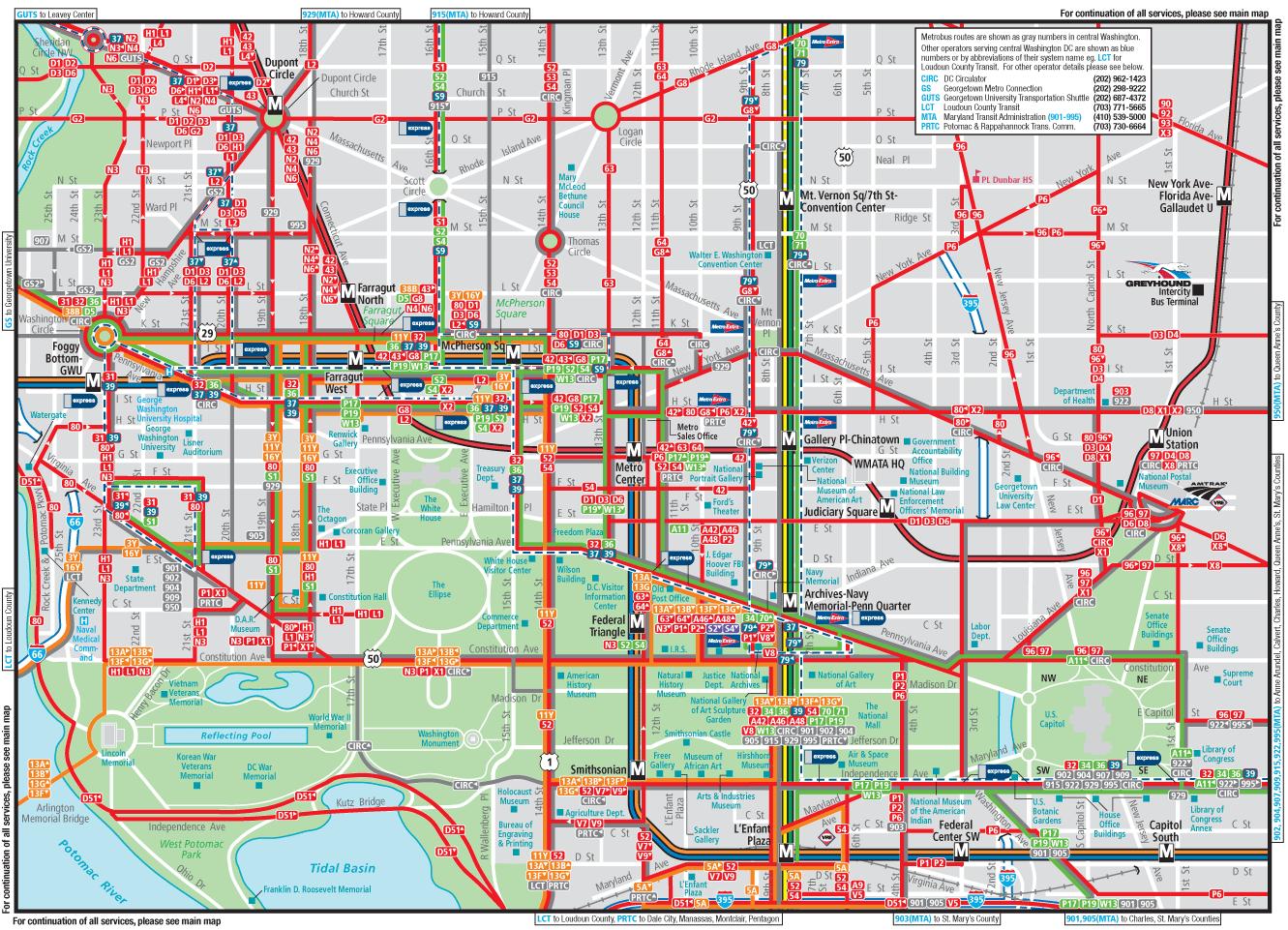 Washington Dc Downtown Metrobus Map city Center Painting