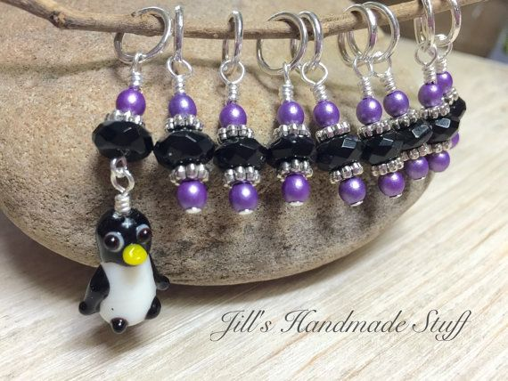 Penguin Stitch Marker Set Knitting Gift SNAG by JillsHandmadeStuff