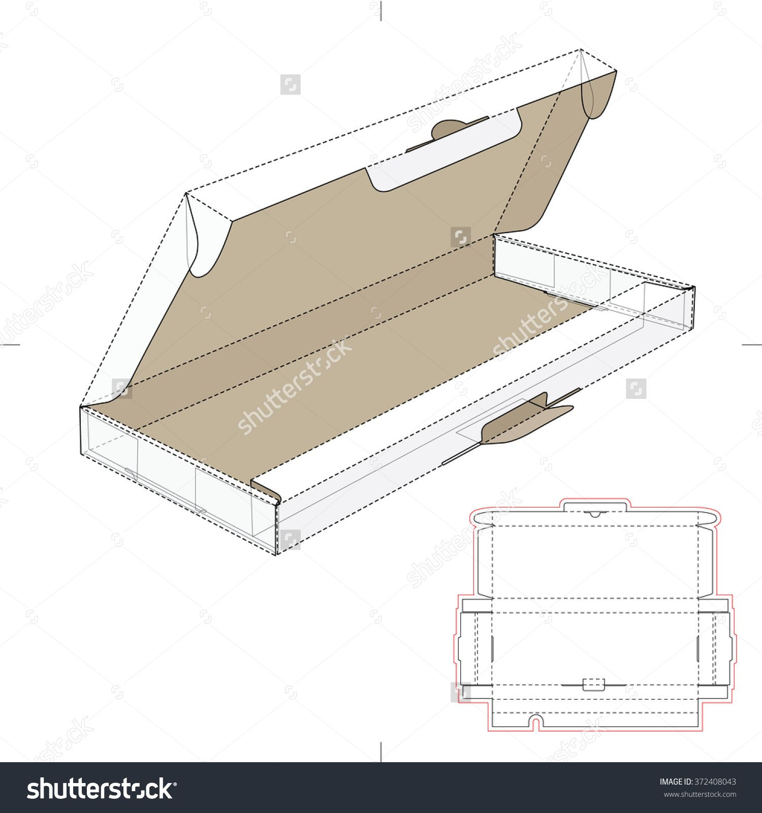 computer keyboard box with die cut template stock vector