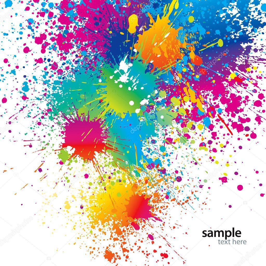 Fondo Con Manchas Coloridas Y Aerosoles En Un Blanco Ilustración Vectorial Manchas De Colores Fondo Pintura Pintura Chorreada
