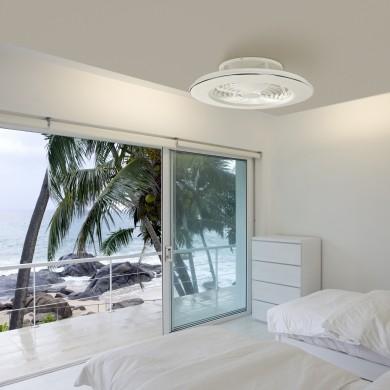 Ventilateur A Eclairage Led Alisio Blanc Chrome Mantra Ventilateur Plafond Feux De Plafond Et Ventilateur Design