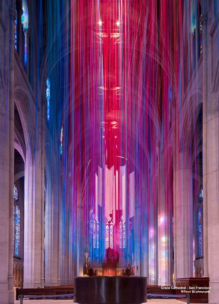 Artist Hangs 20 Miles Of Multicolored Ribbon Inside Grace Cathedral