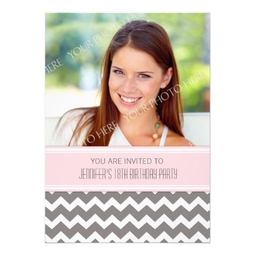 Pink Gray Photo 18th Birthday Party Invitations