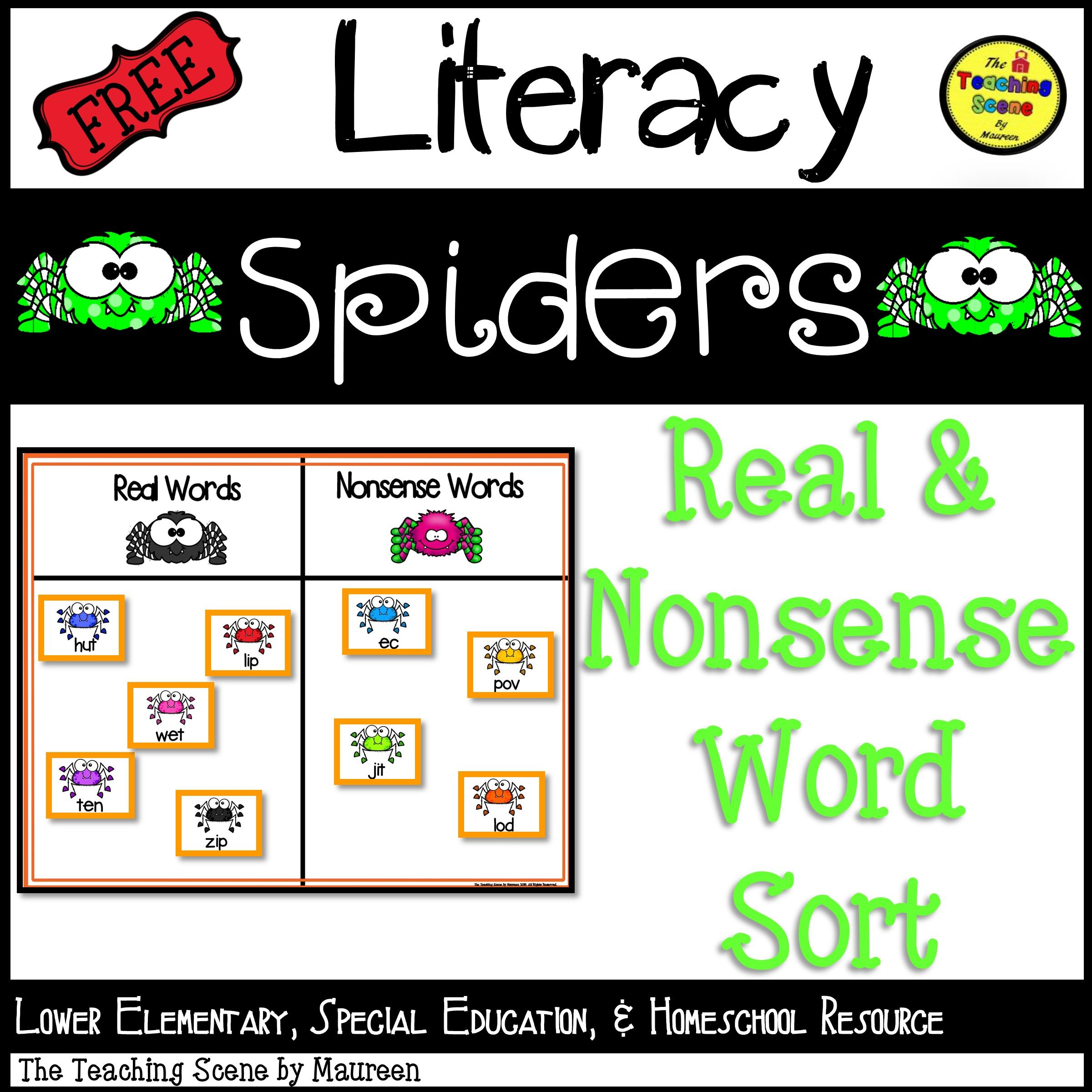 Spider Real Or Nonsense Word Sort Game Free