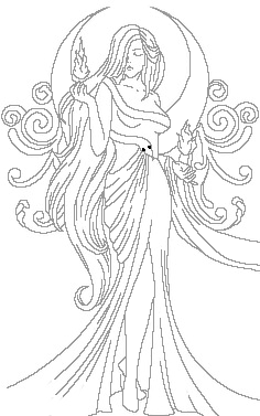 Beautiful Moon Goddess or Lady with Fire and swirls and a