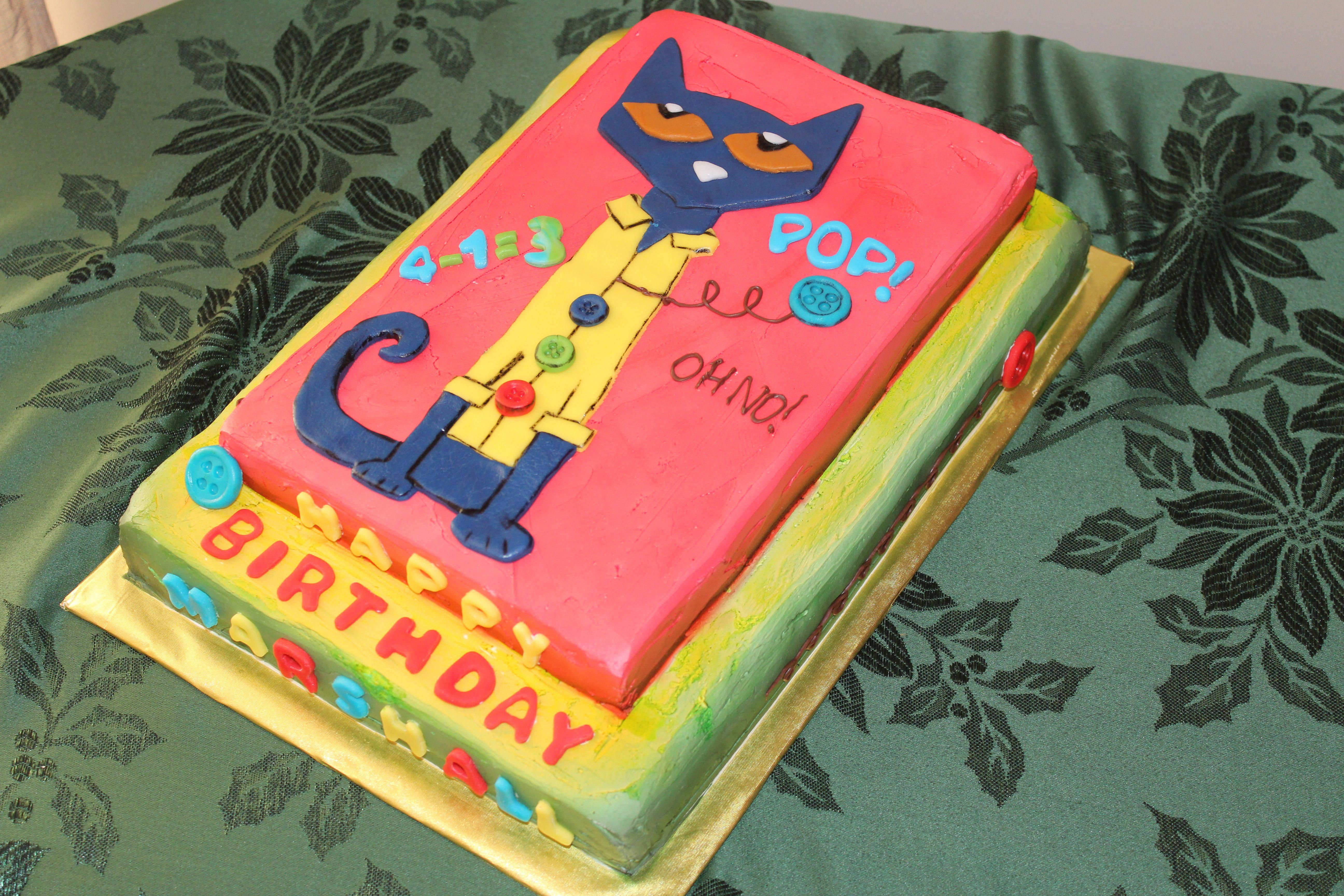 Pete The Cat And His 4 Groovy Buttons Cake Birthdaycakesforcats